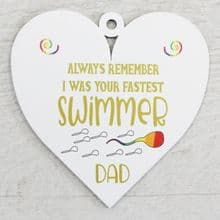 Printed 9.5cm Wood Heart cut from 3mm MDF Dad Daddy Fathers Day Gift - Swimmer